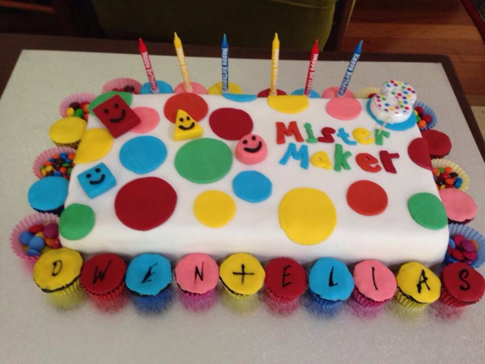 Admirable Mister Maker Shapes Cake With Images 3Rd Birthday Parties Personalised Birthday Cards Cominlily Jamesorg