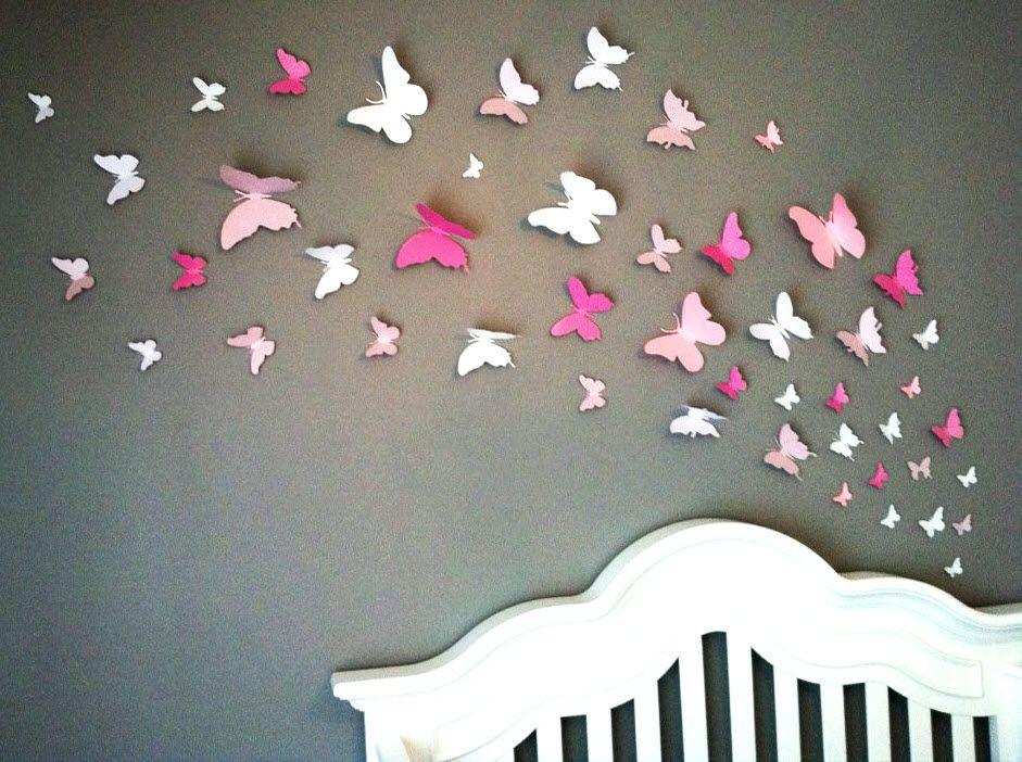 papillons en papier sur mur de chambre d 39 enfant maison pinterest mur de chambre papillons. Black Bedroom Furniture Sets. Home Design Ideas