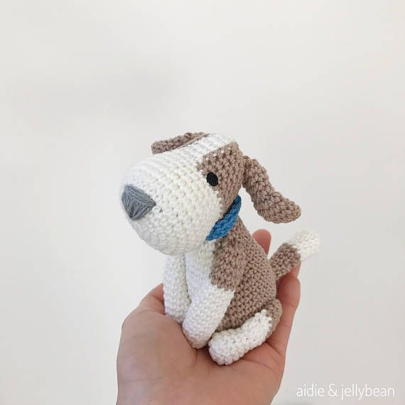 BEAGLE crochet amigurumi with collar, Crochet beagle, amigurumi dog ...