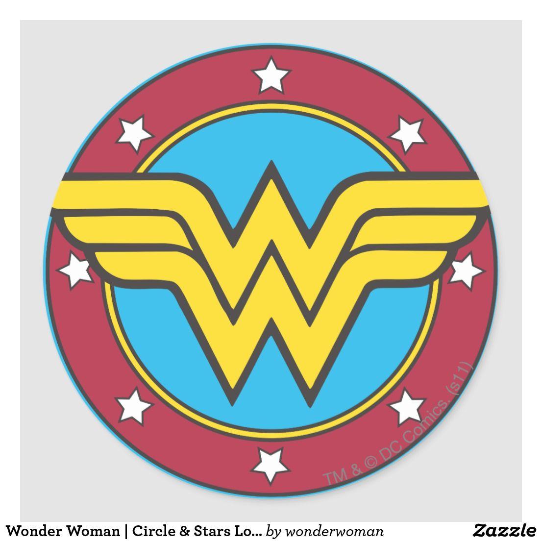 Wonder Woman Circle Stars Logo Classic Round Sticker Zazzle Com Wonder Woman Logo Wonder Woman Comic Wonder Woman [ 1106 x 1106 Pixel ]