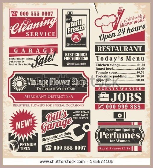 Retro Newspaper Ads Design Template Vector Collection Of Vintage