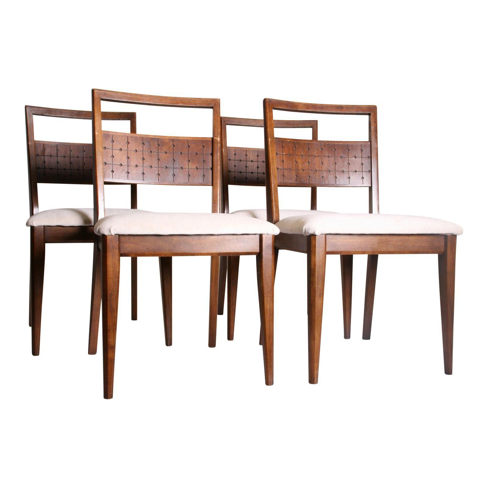 Mid Century Modern Broyhill Saga Dining Chairs Set Of 4 Dining  # Buffet Vintage Suedois