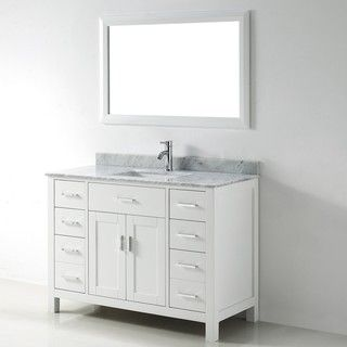 @Overstock - Chloe is maximum storage defined, streamlining and un-cluttering your bathroom experience. The timeless shaker doors and rectangular sink give a semblance of transitionalism while multiple handles form a fell visage of muscular intensity.http://www.overstock.com/Home-Garden/Chloe-48-inch-White-Carrera-Single-Sink-Vanity-Set/6058400/product.html?CID=214117 $1,646.99
