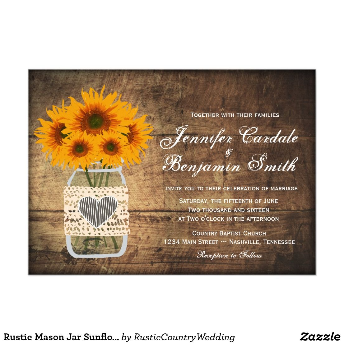 Rustic Mason Jar Sunflower Wedding Invitations Country Wedding