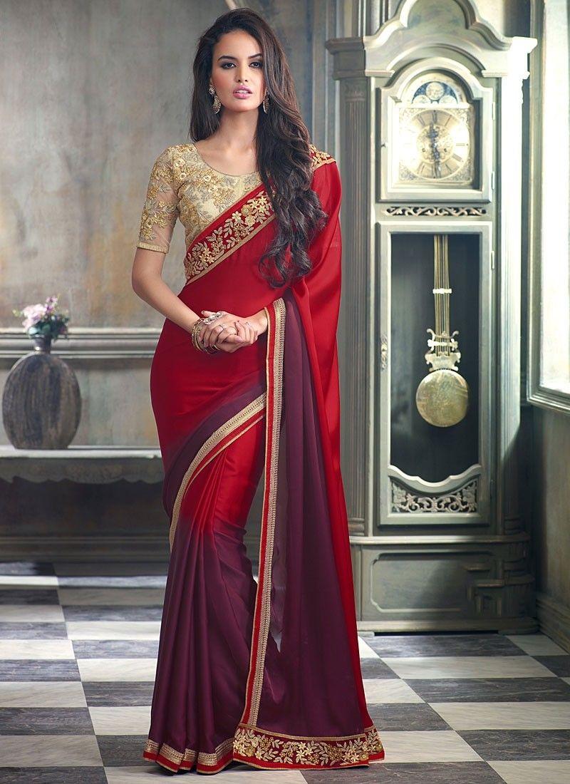Sari indien rouge Satin doté d'une touche d