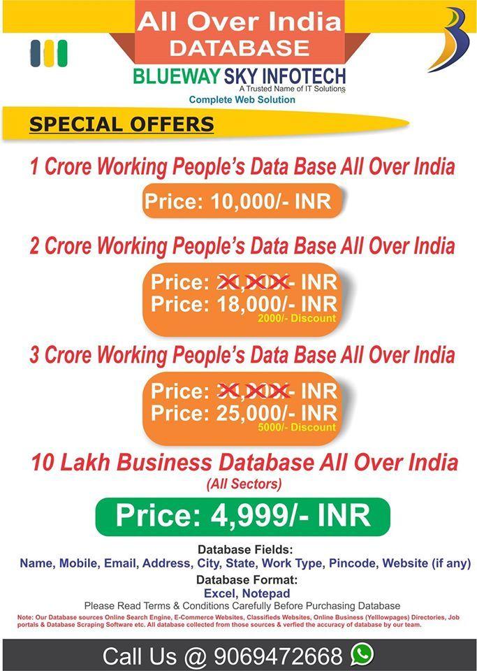 BULK INDIAN JOB SEEKER, EDUCATION DATABASE SERVICE BULK