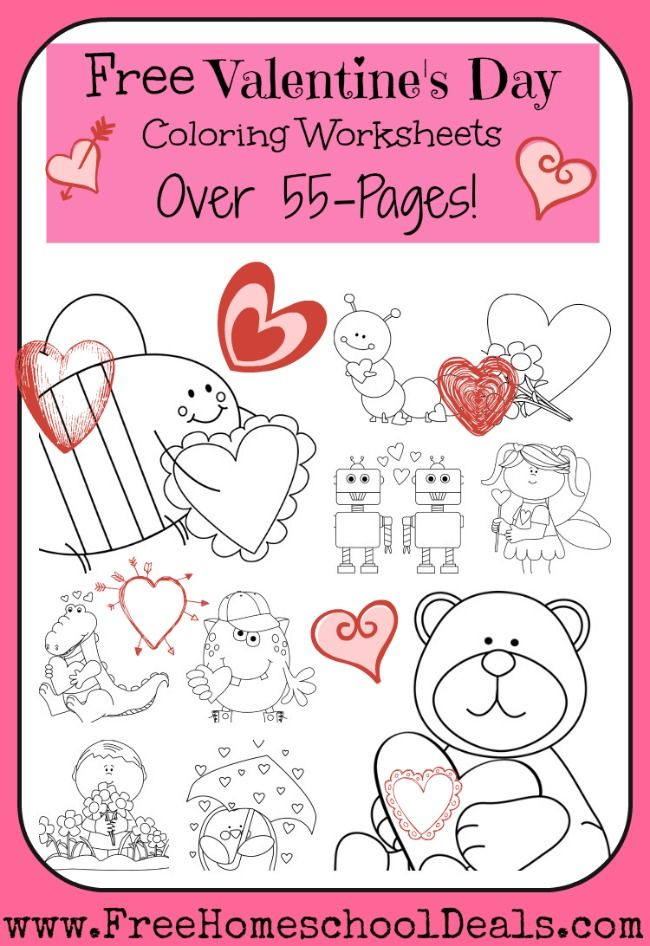 Free Valentine\'s Day Coloring Worksheets (55-Pages) | Valentine\'s <3 ...