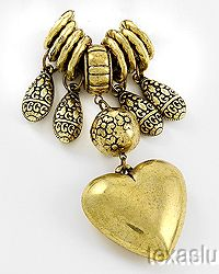 Scarf Necklace Charms Rings 9 Pc Set Heart Theme Antiqued Goldtone FREE SHIP USA on eBay!