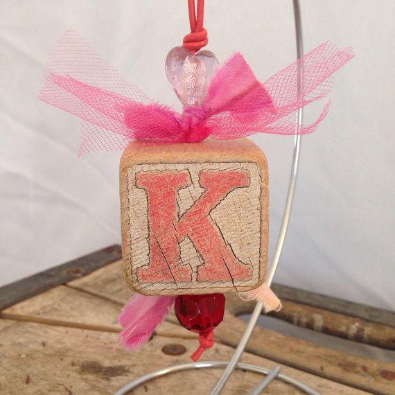 Christmas ornament vintage wooden alphabet block modern country rustic modern…