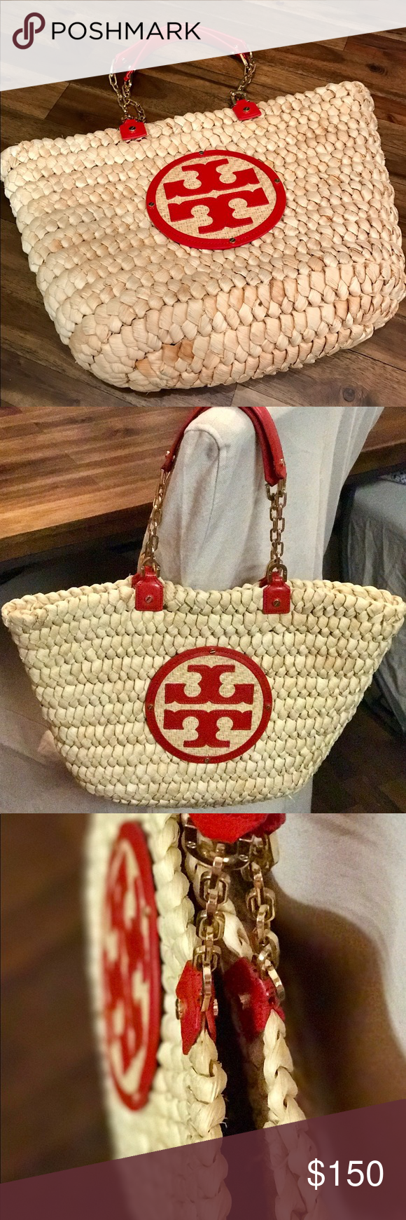 0762834b56c Tory Burch Audrey Straw Tote - Great Condition! The woven straw design of  the Tory