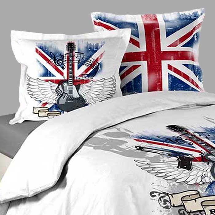 Housse de couette LONDON ROCK BLANC + 2 taies d\'oreillers http://www ...
