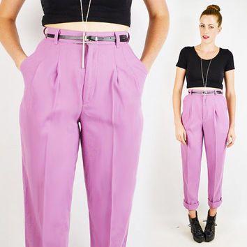 vintage 80s lavender purple HIGH WAIST SKINNY pants / 80s high ...
