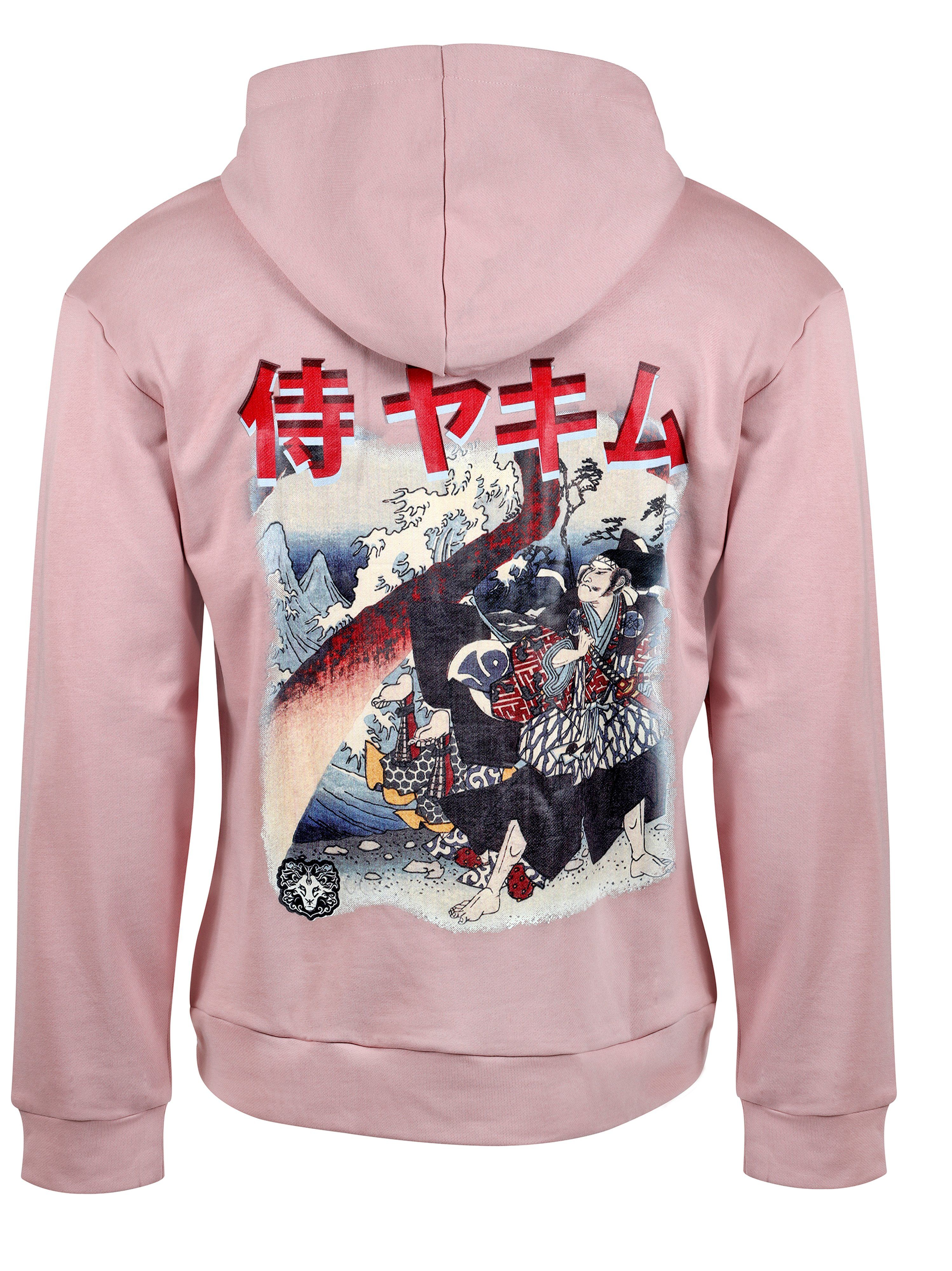 Mens Yekim Hoodies Samurai Print Pink – XL