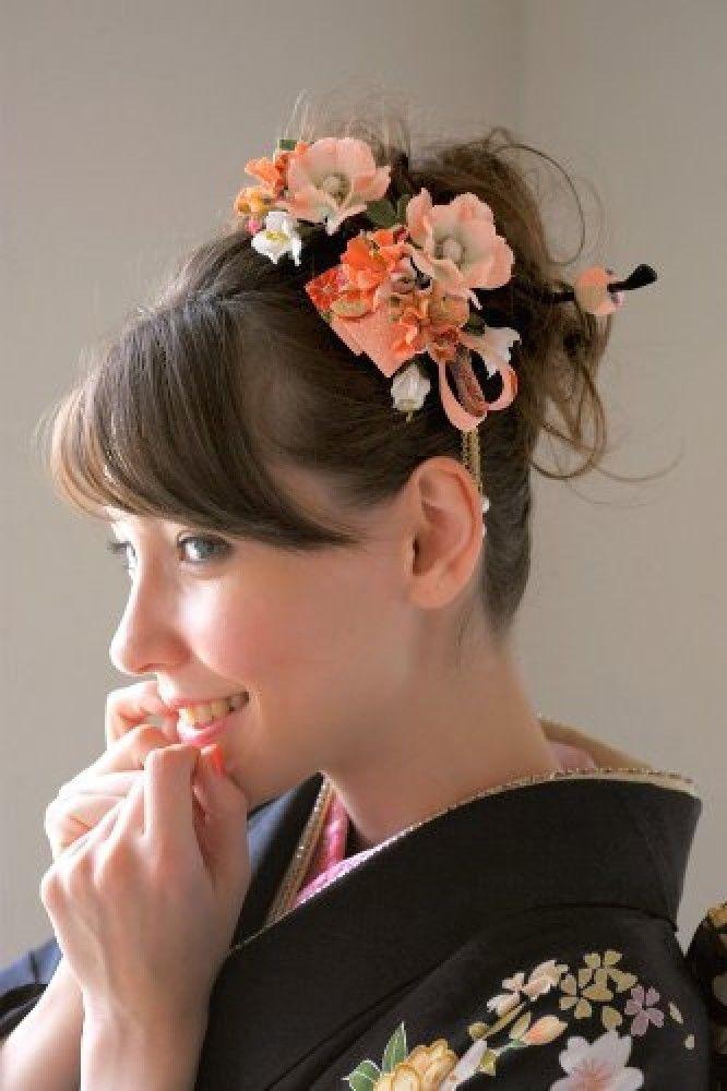 New Japanese Hair Accessories Set of 3 Kimono Yukata Kanzashi Maiko Orange | eBay