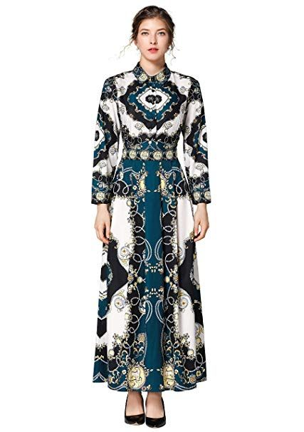 9b2f77d4d08 Women's Floral Print Collared Neck 3/4 Sleeves Long Maxi Casual Shirts  Dress at Amazon Women's Clothing store: