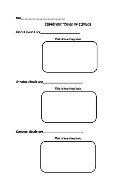 Worksheets Types Of Clouds Worksheets 3 types of clouds worksheet science pinterest different worksheet