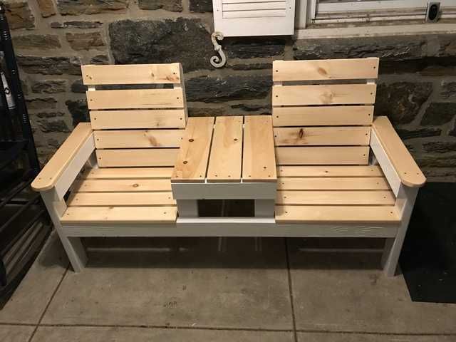 This Is My First  Solo Woodworking Project And It Was Inspired By Plans I Found Here Double Chair Bench With Center Table Thanks R Woodworking My