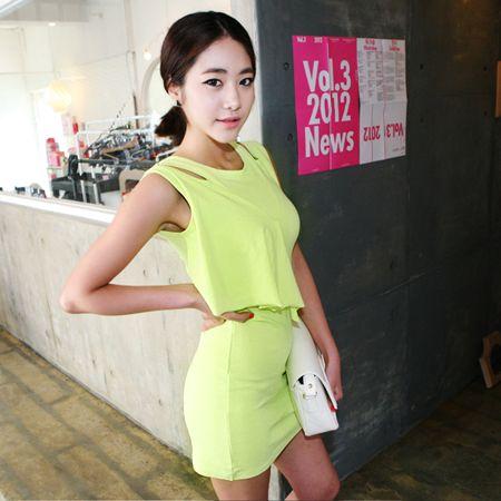 Dresses :: Sleeveless :: draped ruffle cutout shoulder bodycon dress - Korean Fashion @ 스타일지