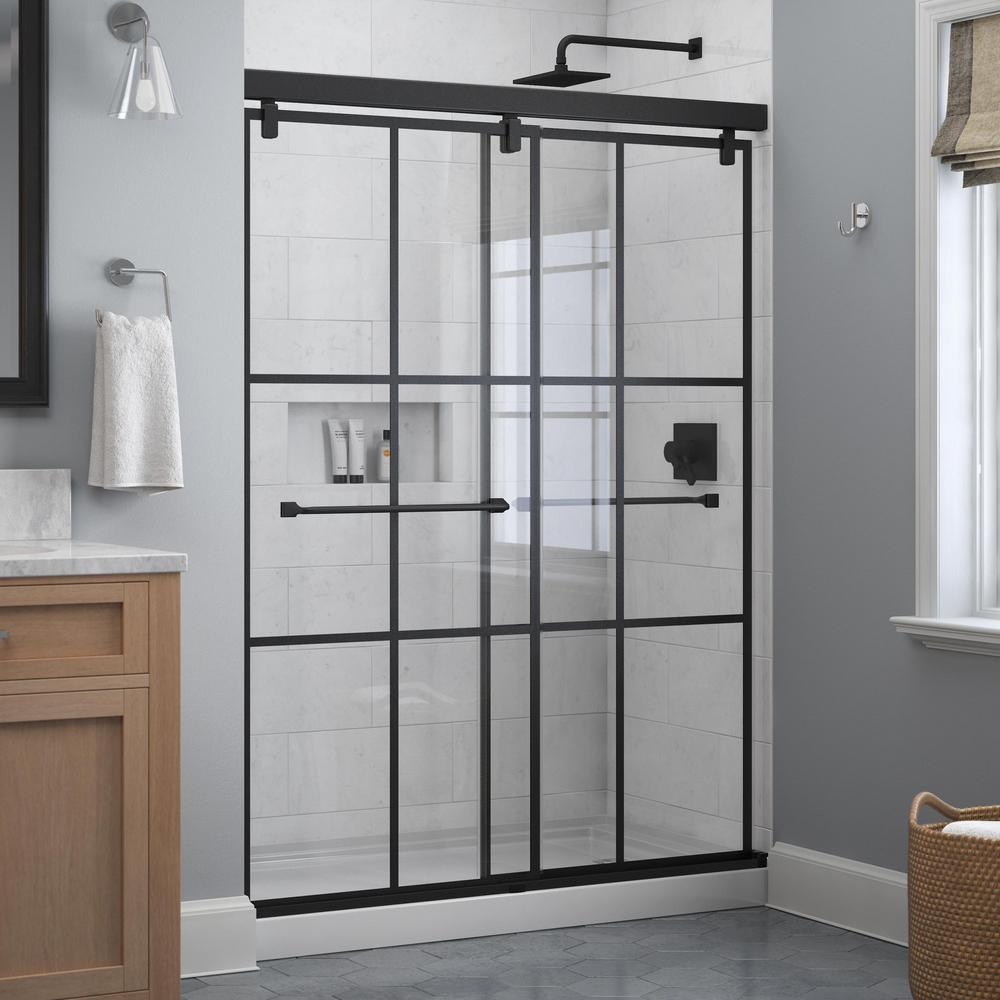 Delta Everly 60 In X 71 1 2 In Frameless Mod Soft Close Sliding Shower Door In Matte Black With 1 4 In 6 Mm Ingot Glass Sd4511073 The Home Depot Shower Doors Bathtub Doors