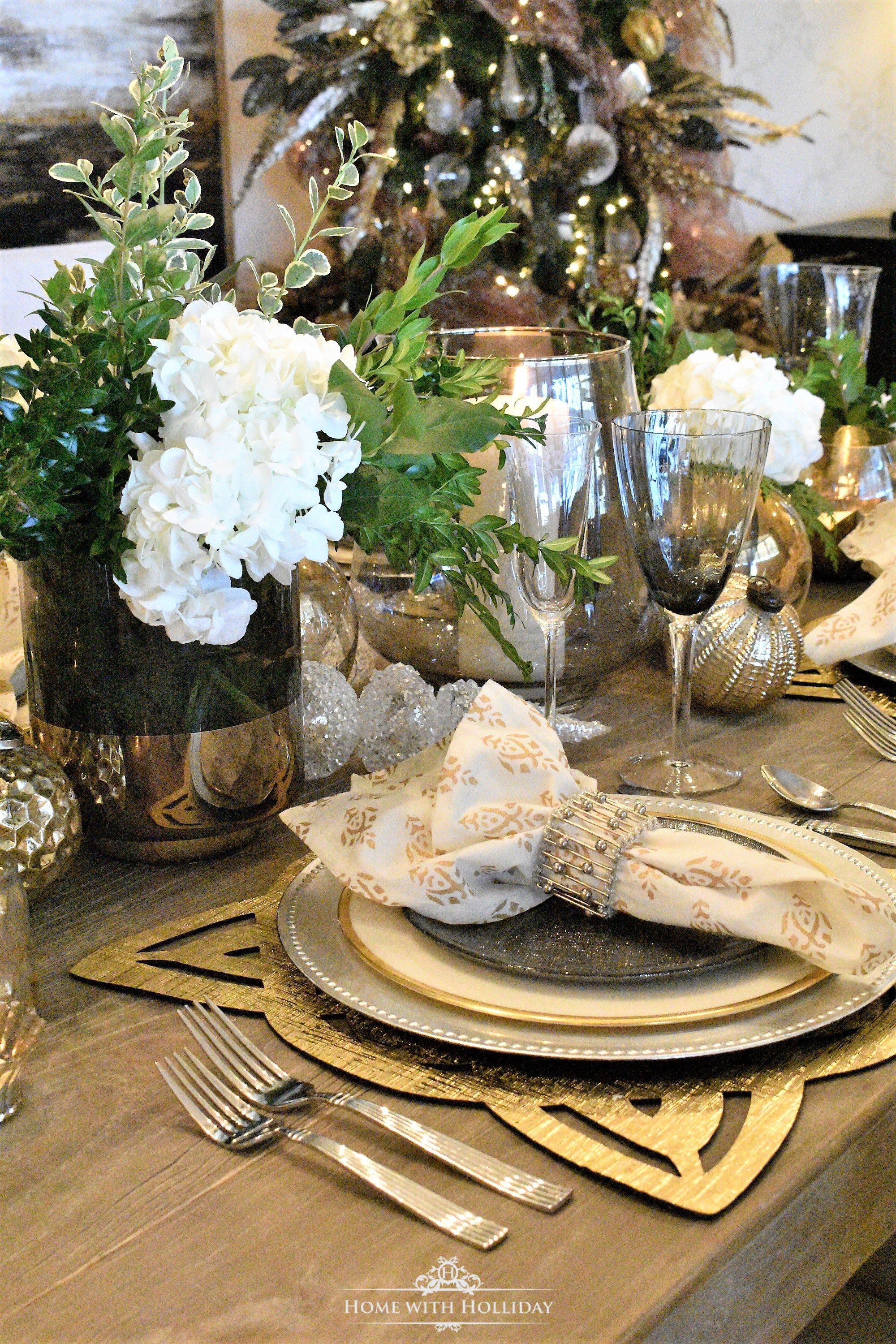 Gold And Silver Table Setting New Year S Eve Or Christmas Home