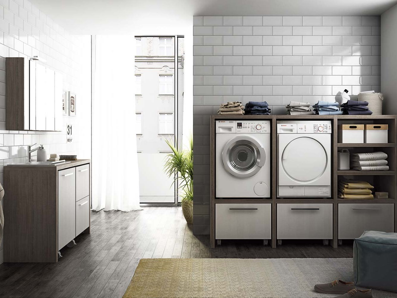 Sectional laundry room cabinet with sink LAUNDRY 10 - LEGNOBAGNO