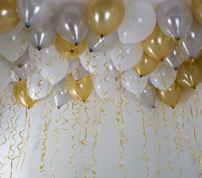 Gold Silver and White Ceiling Balloons and 100 Paper Straws DOI