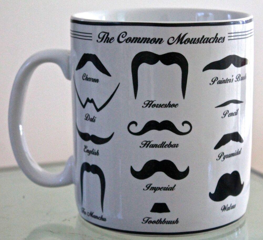 Moustachios Jumbo Coffee Tea Cup Mug Porcelaine