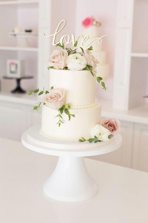 20 Elegant 2 Tier Wedding Cake With Beautiful Flower Wedding Cake Roses Floral Wedding Cakes Simple Wedding Cake
