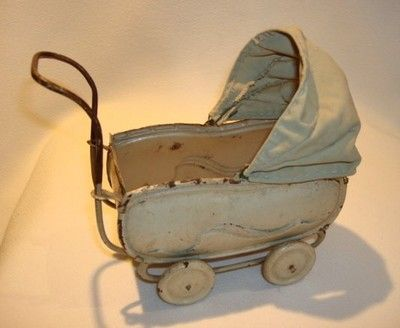 Antique Tin Toy Doll Baby Carriage Dollhouse Miniature Working