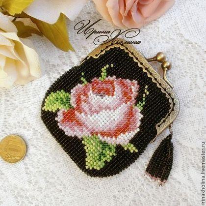 Кошелек для мелочи ( монетница ) из бисера Роза - монетница,кошелек,кошелек женский
