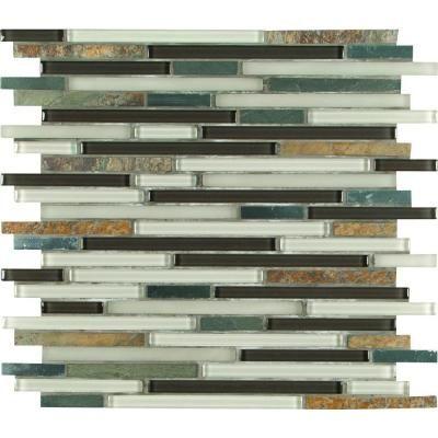 Ms International Windsor Canyon Interlocking 12 In X 12 In X 8 Mm Glass Metal Stone Mesh Mounted Mosaic Tile