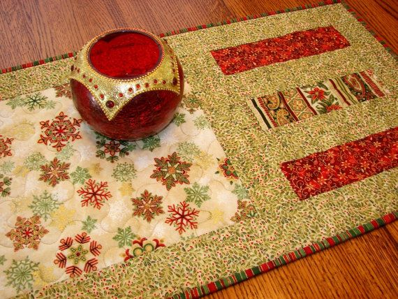 Quilted Christmas Table Runner Flourish Snowflakes in Red Green and ...