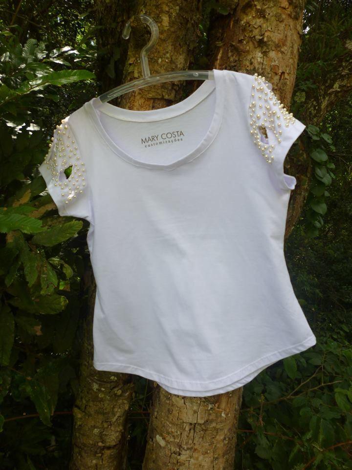T-shirt customizada.  Coleção Pérolas. www.marycosta.com.br