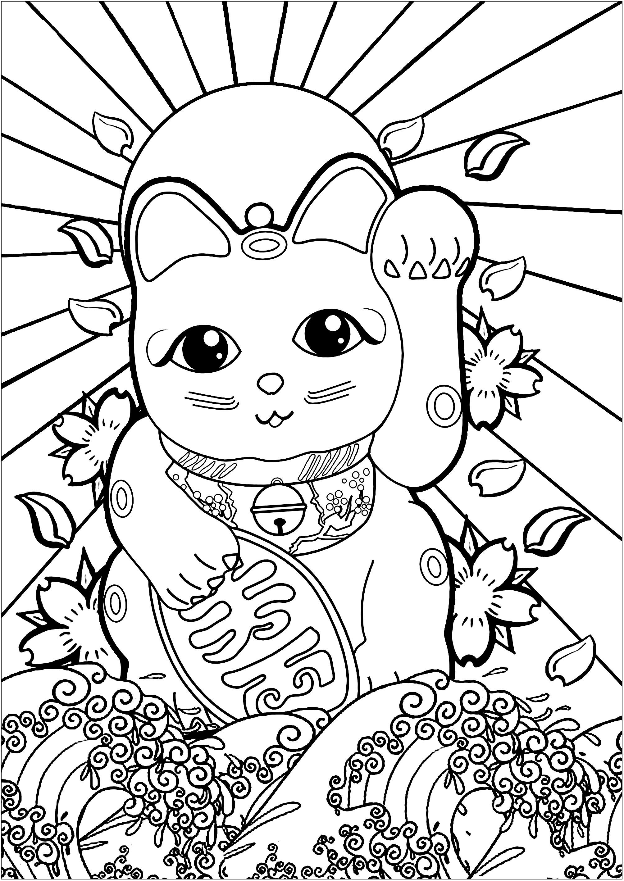 Maneki Neko And The Great Wave Japan Coloring Pages For Adults
