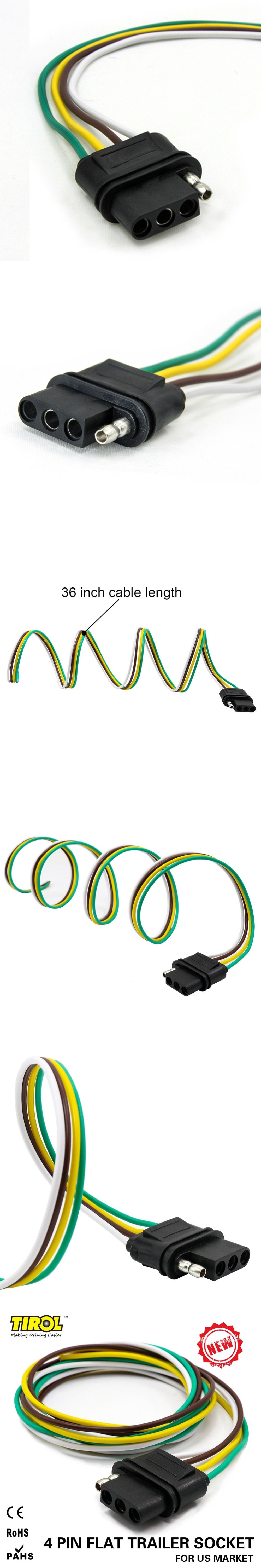 Tirol 5 Way Flat Trailer Wire Harness Extension Connector Plug With 4 Prong Wiring Diagram 36 Inch Cable Length End
