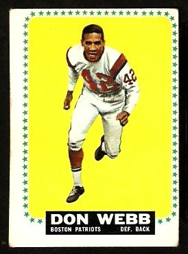 eBlueJay: BOSTON PATRIOTS DON WEBB 1964 TOPPS # 20 EX OC AFL AMERICAN FOOTBALL LEAGUE. cheepseetz
