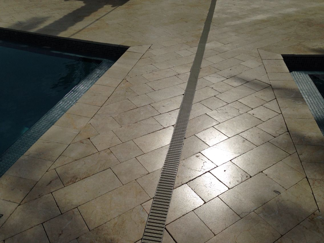 Non Slip Coating Lied To Travertine Pool Deck