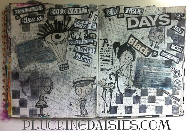 Black And White Art Journal Pages