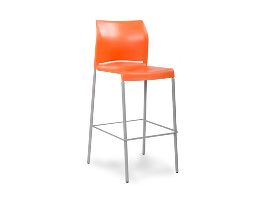45 Ea Plummers The Sillus Barstool Is Available In Orange Or Yellow With Metal Legs In Stock Quantities Are Limite Bar Stools Winter Furniture Bar Design