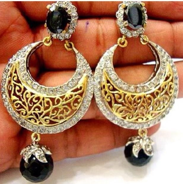 Indian Pakistani Asian Gold Plated Earrings Jhumka Bridal Bollywood