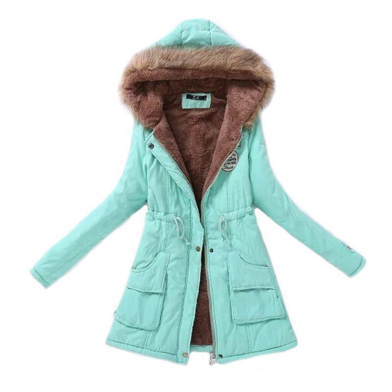 Cheap Mujeres Parka moda Otoño Invierno chaquetas mujeres Fur Collar abrigos  largos Parkas Hoodies Oficina Dama más tamaño 431db6efccc8