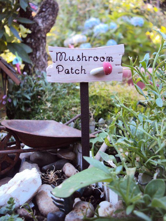 Gnome Garden: Fairy Garden Miniature Sign Mushroom Patch By