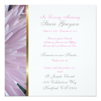 Custom Funeral or Memorial Service Announcement | Invitations for ...