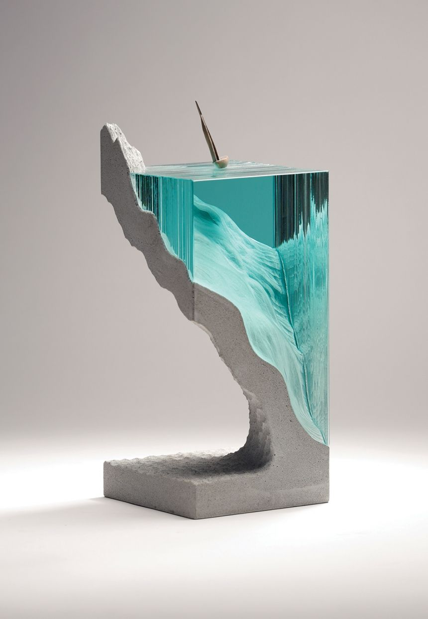 New Layered Glass Sculptures By Ben Young That Beautifully Capture - Incredible layered glass table mimics oceans depths