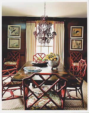 Dark Brown Walls: Painted Coral Chairs {Celerie Kemble} I Love This Palette