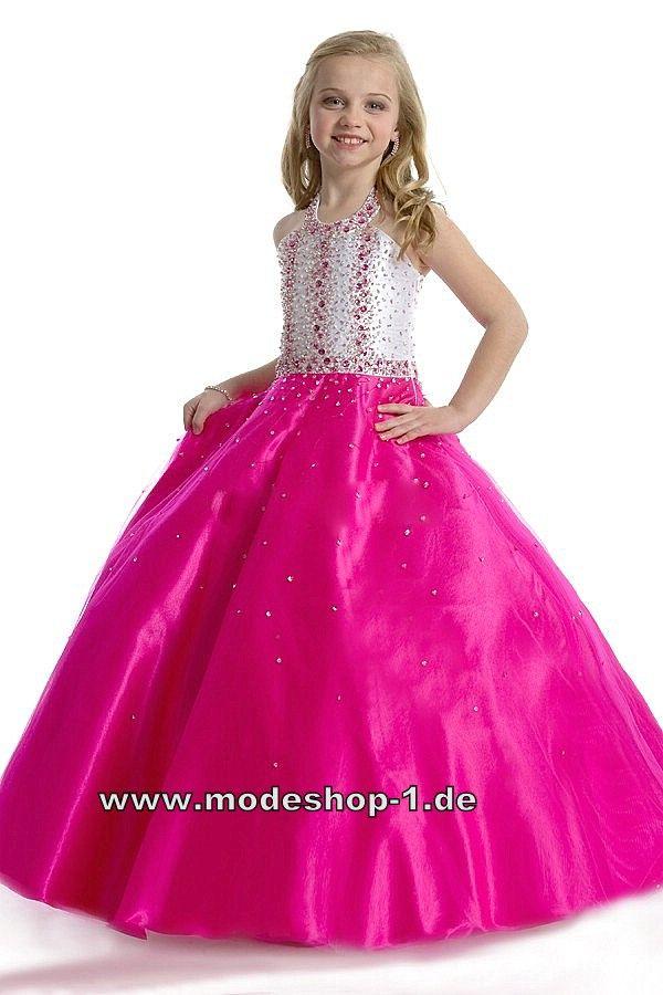 neckholder abendkleid ballkleid für mädchen pink weisses