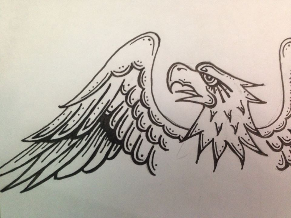 Traditional Tattoo Line Drawing : American traditional eagle by xxazmo viantart on deviantart