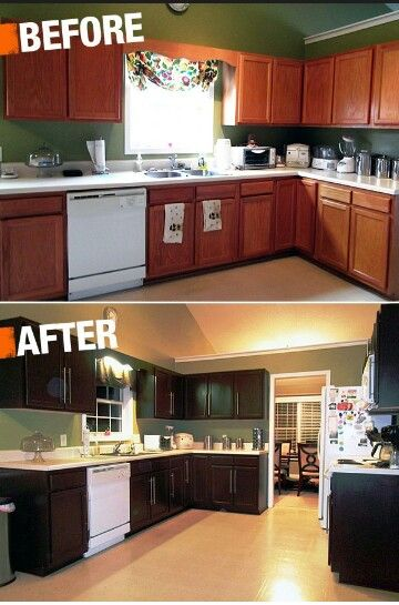 Black Paint And Modern Handles Can Spruce Up The Diy Cabinets From Home Depot Making Kitchen Er