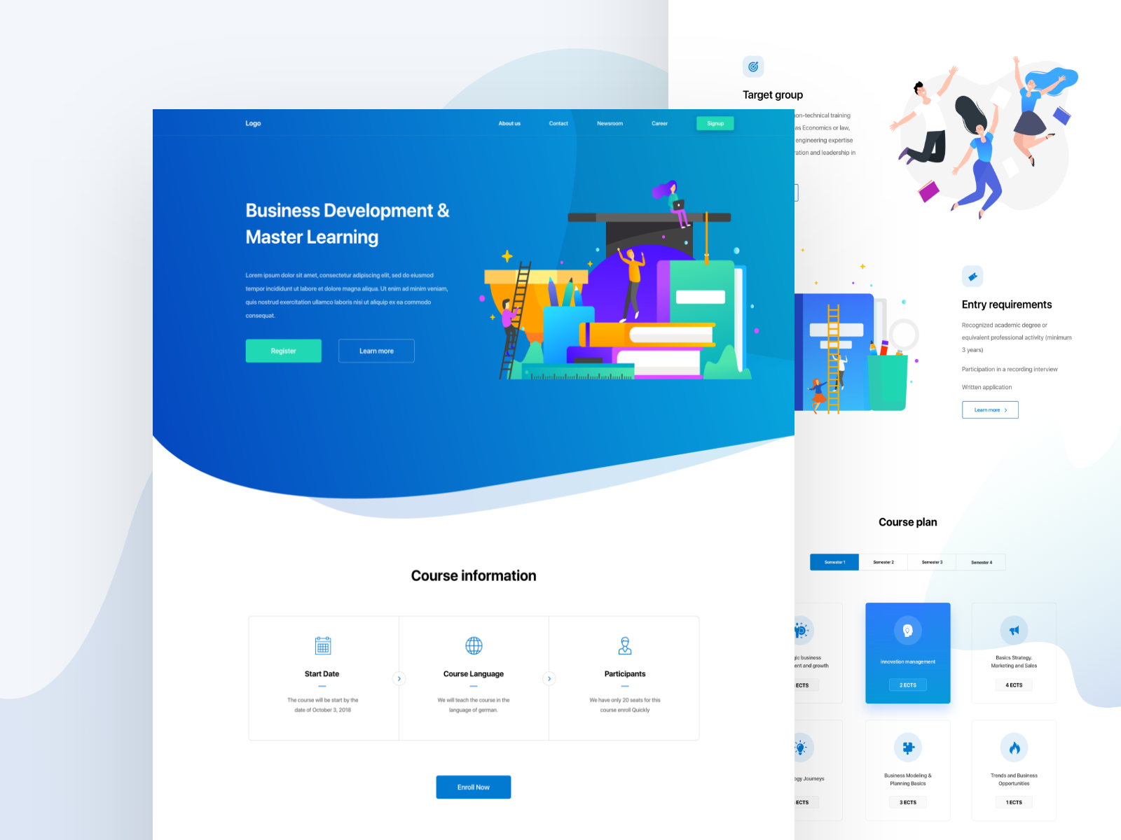 Course Landing Page Vector Icon Ux Course E Learning Design Colors Trend New Dashboard Mockup Illustration Min Landing Page Learning Design Design Color Trends