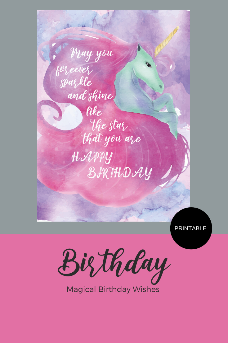 Printable Unicorn Happy Birthday Greeting Card Instant Etsy Printable Unicorn Birthday Birthday Greeting Cards Unicorn Birthday Cards